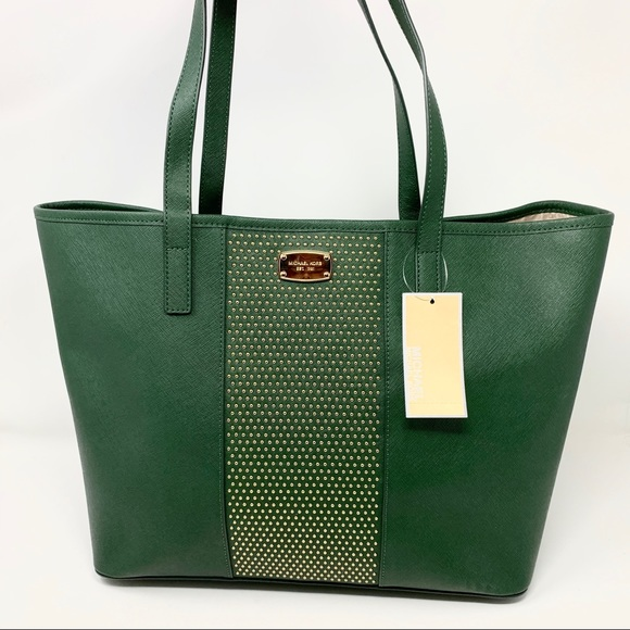 29de5747077293 Michael Kors Bags | Microstud Stripe Leather Tote Handbag | Poshmark